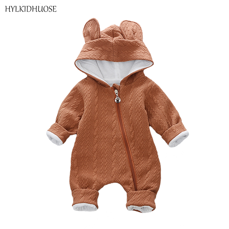 HYLKIDHUOSE Baby Girls Boys Rompers Infant Newborn Cotton Jumpsuits Hooded Cartoon Babies One-pieces Jumpsuits Kids Clothes