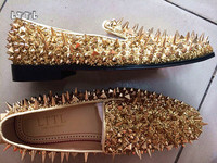 New Factory Customized LTTL Logo Men Luxury Shinny Glitter Gold And Silver Spikes Shoes Slip On