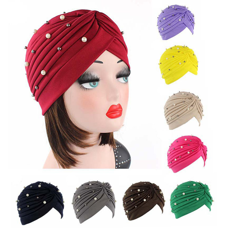 LARRIVED New Fashion Beading Knotted India Turban Muslim Hat Chemo Cap Headwrap Ladies Bandanas Hair Accessories Hijabs