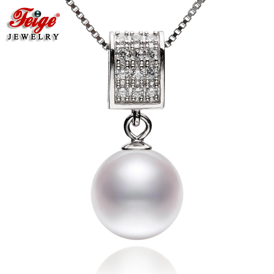 FEIGE High Quality Real 925 Sterling Silver Necklaces & Pendants with 9-10mm Round Natural Freshwater Pearl Jewelry for WomensFEIGE High Quality Real 925 Sterling Silver Necklaces & Pendants with 9-10mm Round Natural Freshwater Pearl Jewelry for Womens