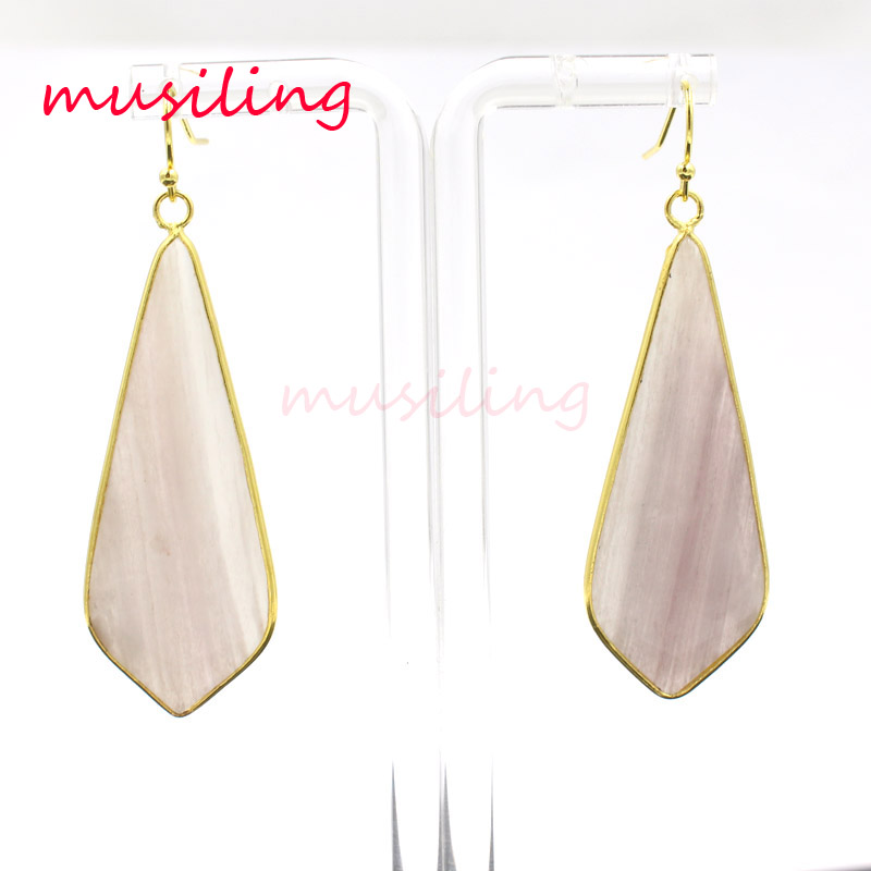 musiling Long Drop Dangle Earrings Natural Stone Charms Golden Plated Jewelry For Women Wholesale in Drop Earrings from Jewelry Accessories