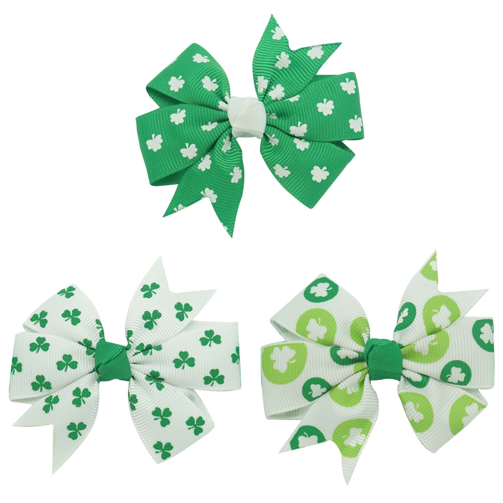 9Pcs St. Patrick's Day Green Flower Shaped Hair Bow With Clips Hairpin Kids Hair Ties Girl's Hair Accessories Barrettes flower shrubs green xiu jade pinchcock with tassel vintage original handmade hair grips hair pins bride wedding hair accessories