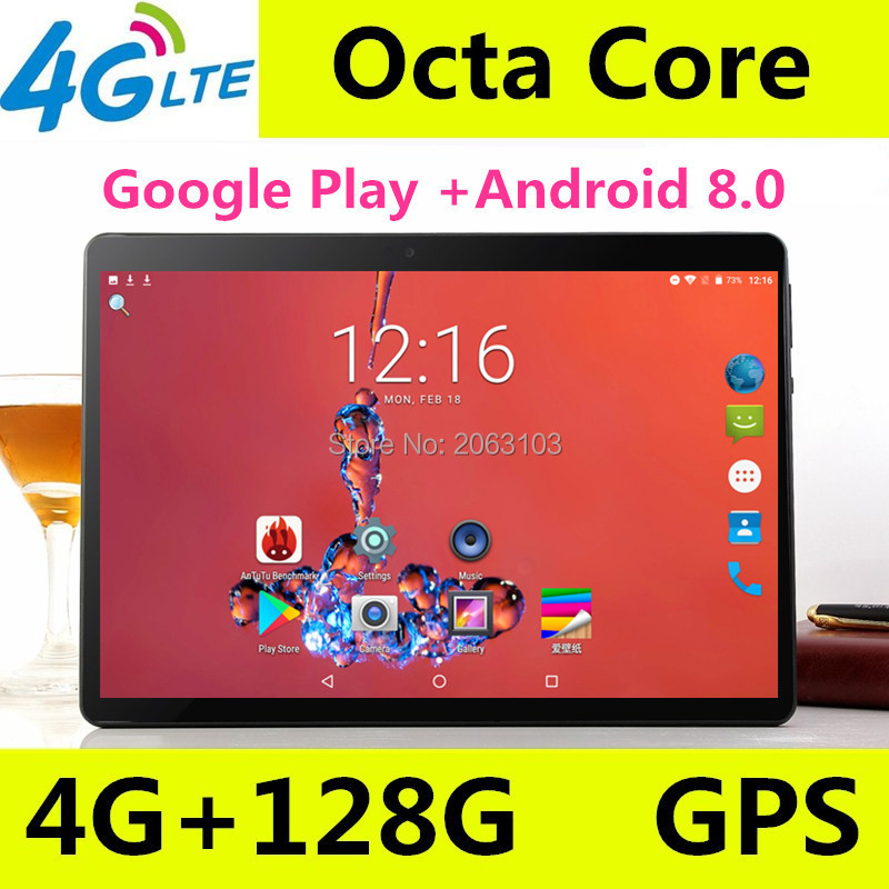 Android 8.0 Tablets 10.1 Google Play Store OS 10 Inch 4G FDD LTE Tablet 4GB RAM 128GB ROM 1920*1200 IPS Dual SIM Cards Kids Gift