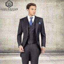 LN136 Dark Green Slim Men Suits Handsome Mens Wedding Suits Groomsmen Groom Tuxedos Party Prom Business Suits (Jacket+Pants+Tie)