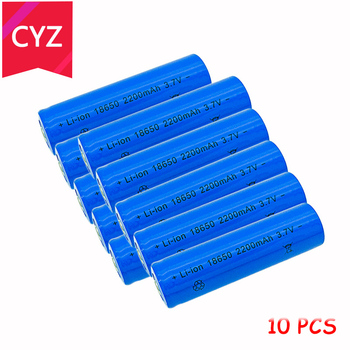 10PCS 18650 3.7V 2200mAh(Not AA) Battery batteries lithium Li Ion Rechargeable Large Capacity Flashlight New Power free shipping 100pcs lot brand new version saft ls14500 aa 3 6v lithium battery batteries made in france ems dhl free shipping