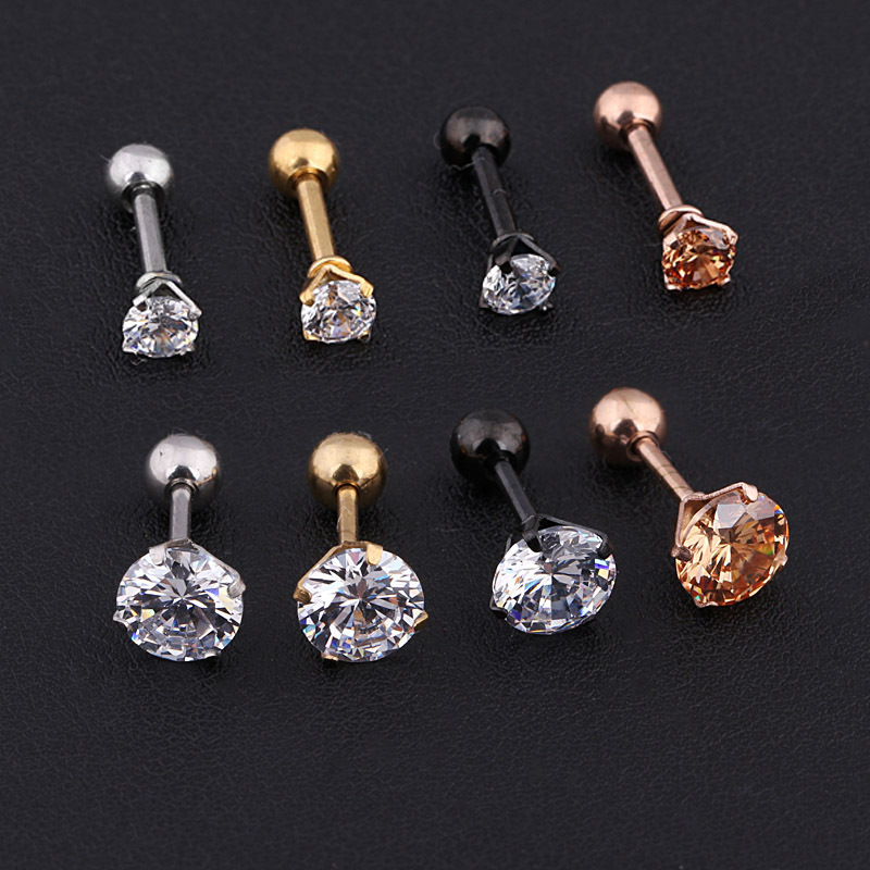 Medical gold earring Titanium stainless Steel Zircon Ear Nail Girl silver pendientes eaearings mj for women rombo titanio earing in Stud Earrings from Jewelry Accessories