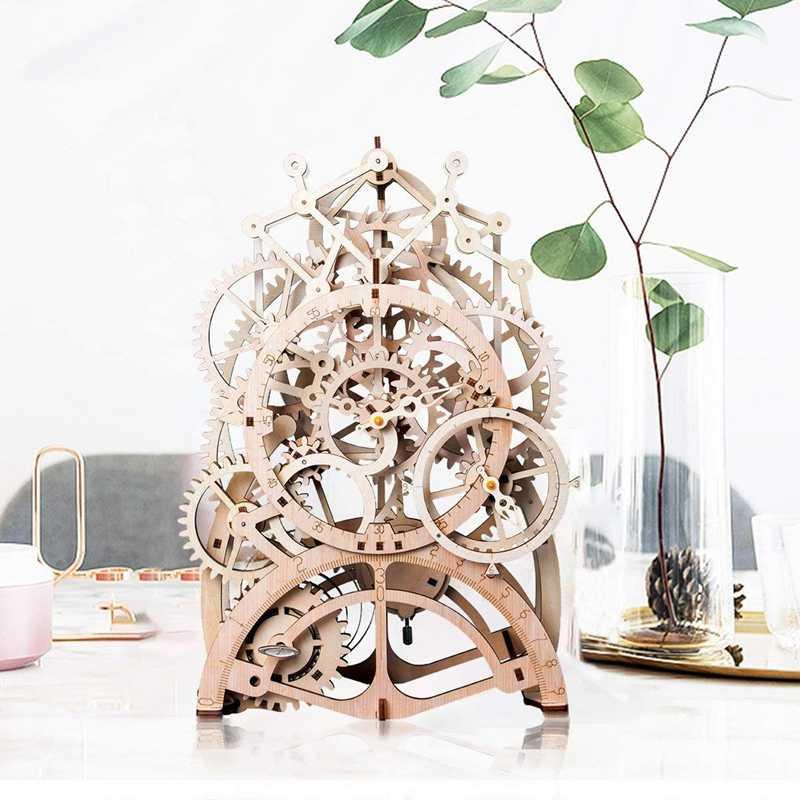 Vintage Home Decor DIY Crafts Wooden Pendulum Clock Model Kits Decoration Mechanical Wall Watch Gear Clockwork