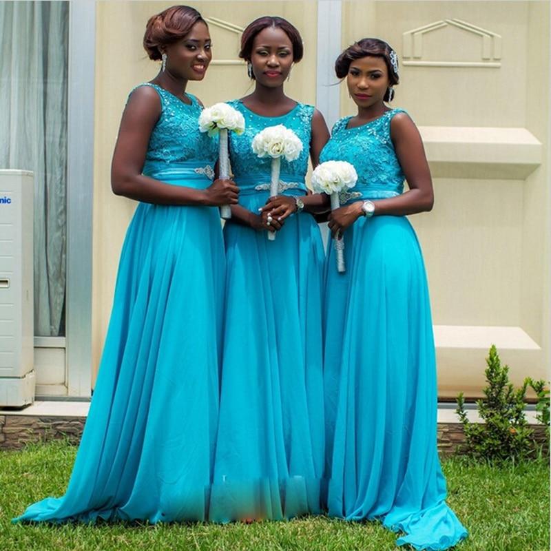 Vestido de festa de Casamento Cheap Lace Cap Sleeves Long Boho Bridesmaid Dresses 2016 Bead Scoop Chiffon Maid of Honor Dresses
