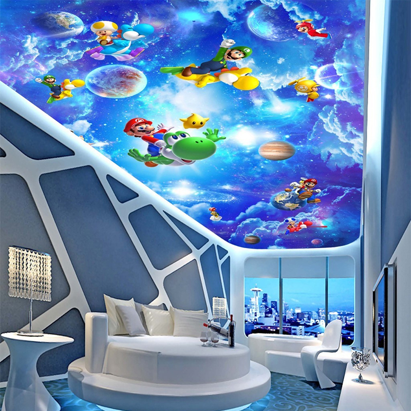 Custom 3D Ceiling Mural Wallpaper Embossed Non-woven Stereoscopic Cartoon Super Mario Blue Sky Clouds Wall Paper For Living Room mural wallpaper 3d home decoration cherry trees 3d wallpaper living room ceiling non woven wallpaper ceiling
