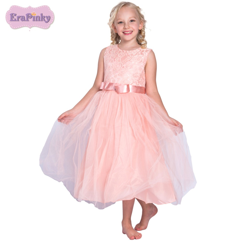 Erapinky children clothing vestidos florel ninas 2018 solid sleeveless A line wedding dress ball gown girl dess for kids ...