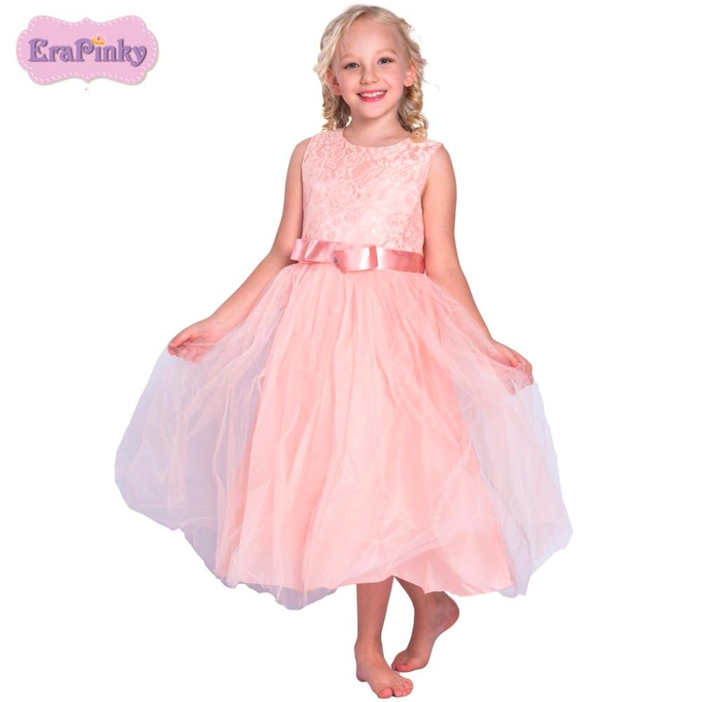 Erapinky children clothing vestidos florel ninas 2018 solid sleeveless A line wedding dress ball gown girl dess for kids