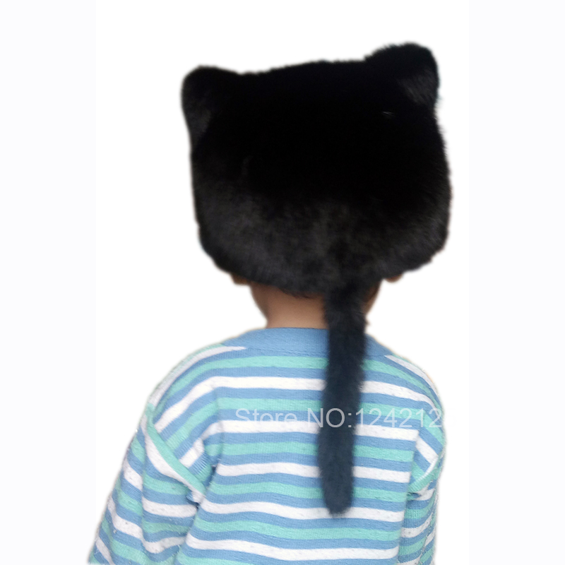 Autumn winter parent-child women kids children fur hat Basball lovely cat ear real Mink fur hat tail genuine fur hat Peaked cap плед сruise welcom