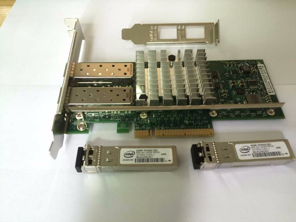 Intel 10G Ethernet Server Adapter Dual Port PCI E X520 SR2 E10G42BFSR with 2 SFP