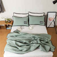 Silk Cotton Comforter Bedding Set Queen Size 1pc Green Quilted Blanket 2pcs Bedding Pillowcases Brief Style