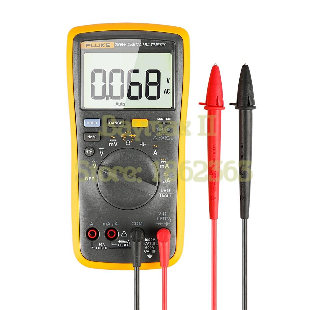 FLUKE 18B + AC/DC Tension, Courant, Capacité, ohm Auto/Manuel Gamme multimètre Numérique avec LED Test