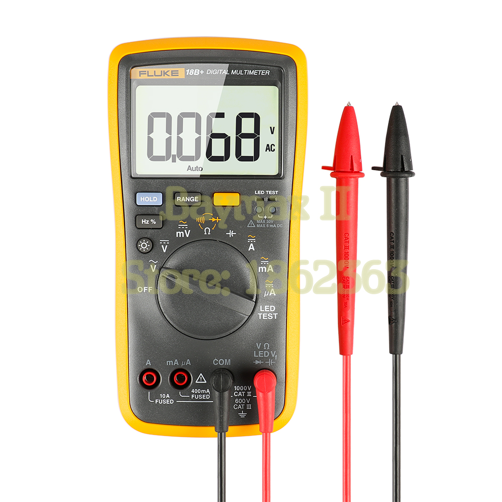 FLUKE 18B+ AC/<font><b>DC</b></font> Voltage,Current,Capacitance,Ohm Auto/Manual Range Digital multimeter with LED Test image
