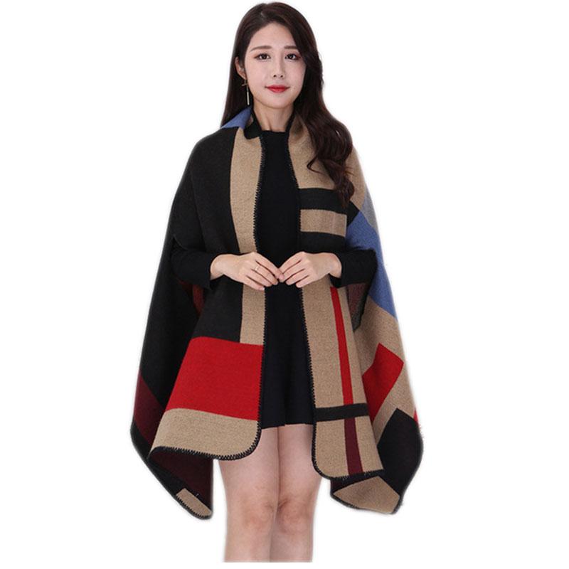 2019 Winter Female Scarves Women Scarf Pashmina Cashmere Ponchos And Capes Plaid Shawl Hijab Bandana Cachecol Foulard Femme