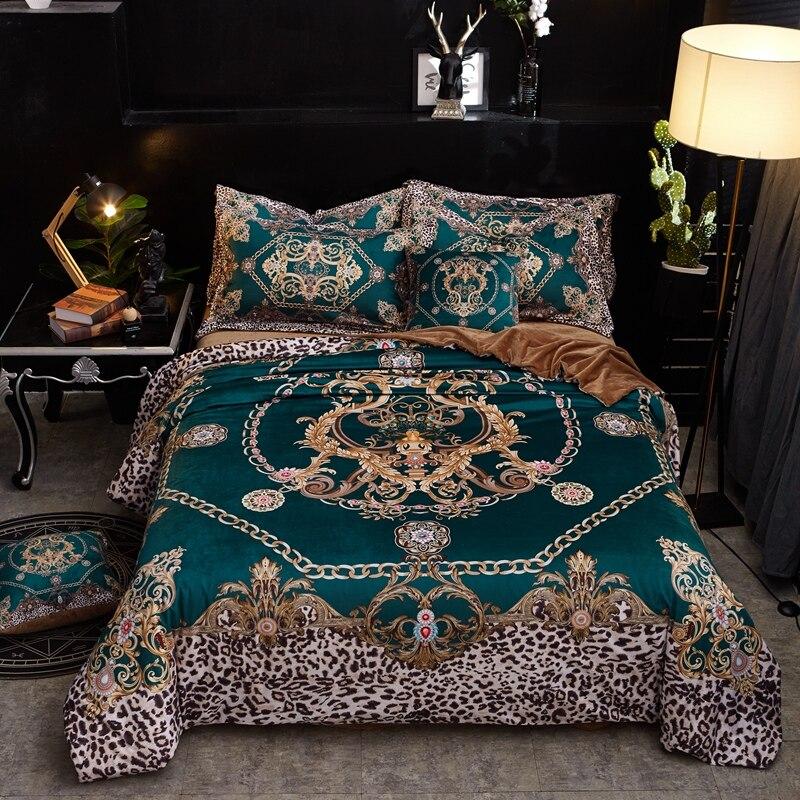 Home Textile Winter Crystal velvet Bed Linens 4pcs Bedding Sets Bed Set Duvet Cover Bed Sheet soft Cover Set