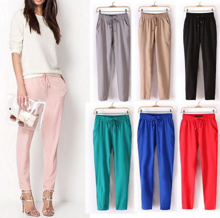 Casual Candy Color Chiffon Elastic Waist Harem Pants 2020 Summer Women Loose OL Office Pants Leggings Pantalones Female Trousers