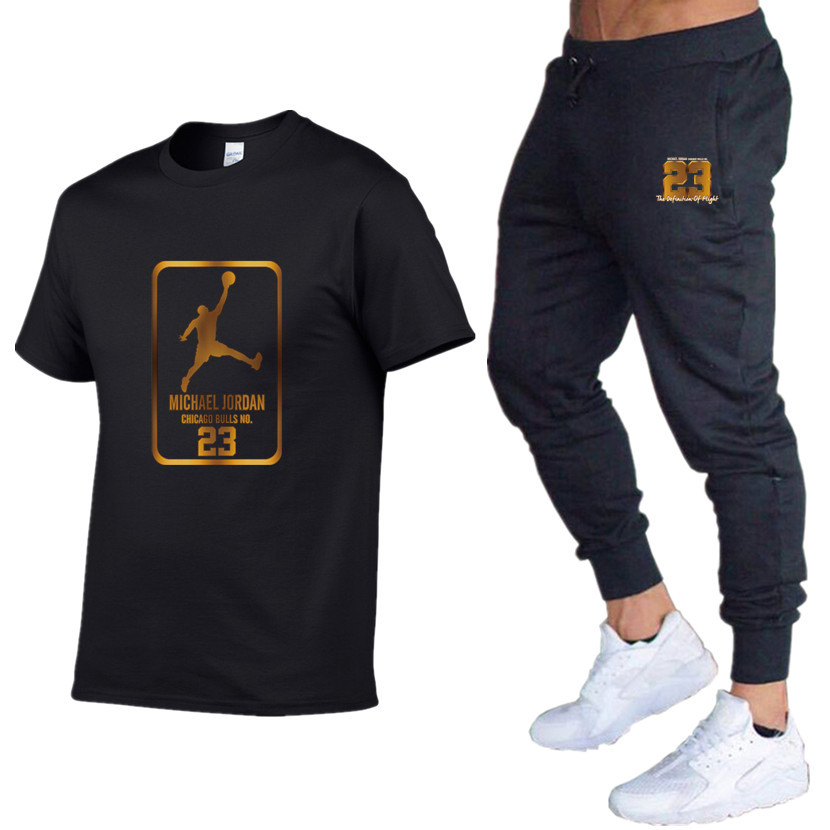 Summer Hot Sale Men's Sets T Shirts+pants Two Pieces Sets Casual Tracksuit Male 2019 Casual Tshirt Print Jordan 23 Trousers Men