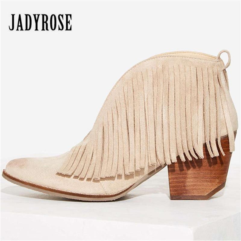 Jady Rose Sexy Avant V Ouvert Femmes Cheville Bottes Chunky Haute talons Glissent Sur Glands Femmes Pompes À Franges D'été Automne Martin Boot