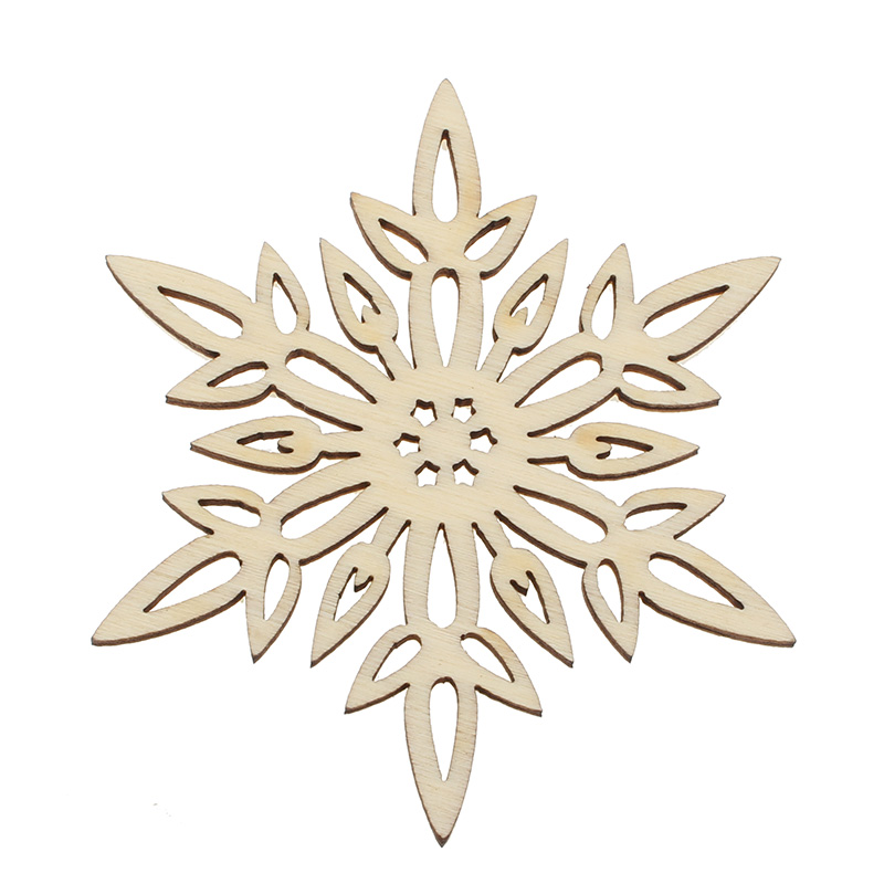 10pcs Snowflake Natural Madera Scrapbooking Wooden Pieces Laser Cut Wooden Embellishments For Crafts Decor Diy Wooden Ornaments