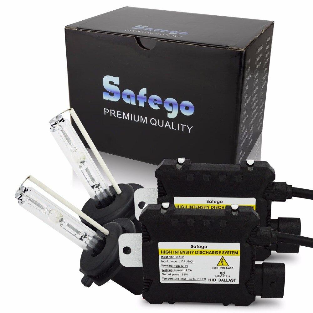Safego Kit Xenon HID 55W H1 H3 H4 H7 H8 H10 H11 H27 HB3 HB4 H13 9005 9006 Carro lâmpadas dos faróis Lâmpada Oi/Lo Feixe 12V 6000K Branco