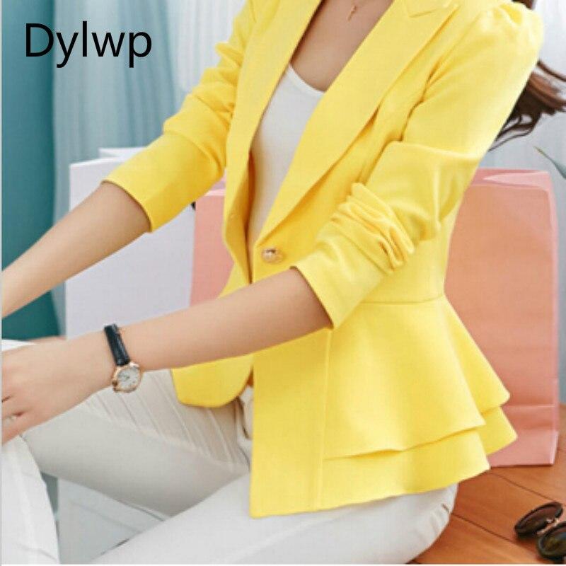 Spring Autumn Ladies Ruffle Slim Blazer And Jackets Plus Size 3XL Women Fashion Black Yellow White Blaser Suits Terno Feminino ...