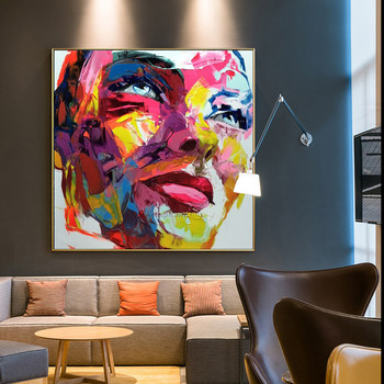 Francoise Nielly style face oil painting Palette knife portrait  pop art wall Art pictures for living room caudros decoracion