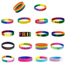 Unisex LGBT Rainbow Letters Sports Silicone Wristband Six-Color Gay Lesbian Pride Wristlet Bracelet Party Parade 18 Types