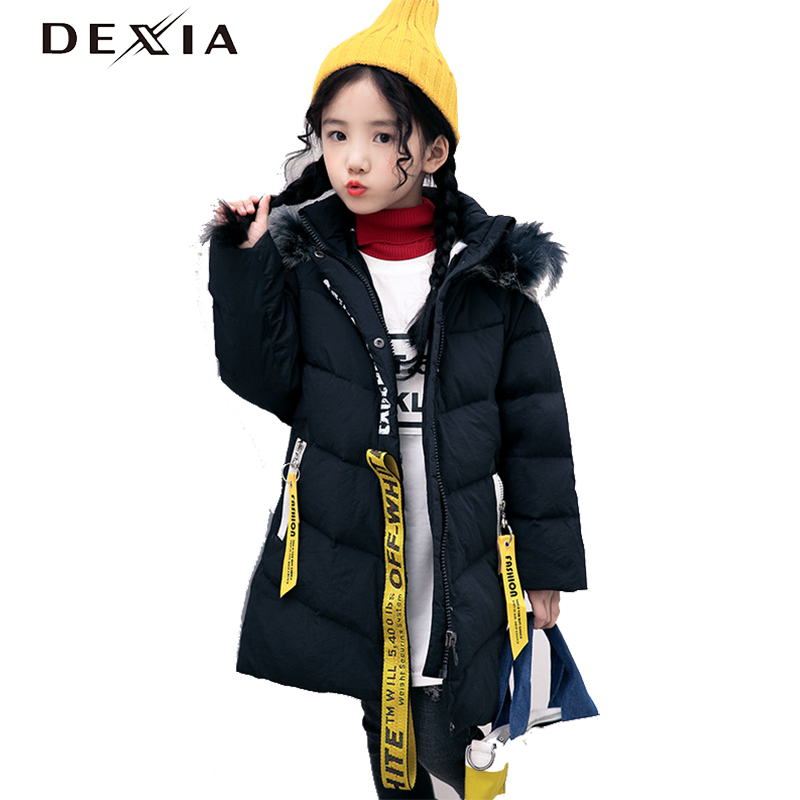 DEXIA New Winter Girls Warm Coats Hoodie Batwing Sleeve Warm Jackets White Duck Down Coats High Quality Girl Parka Warm 1922 batwing sleeve pocket side curved hem textured dress