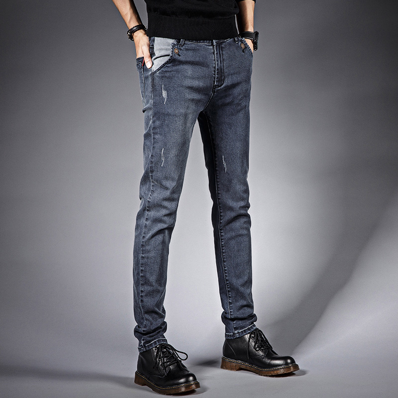 High Quality 2018 New Men Ripped Jeans Fashion Classic Vintage Scratched Casual Slim Fit Pencil Pants Denim Trousers Gray 6311