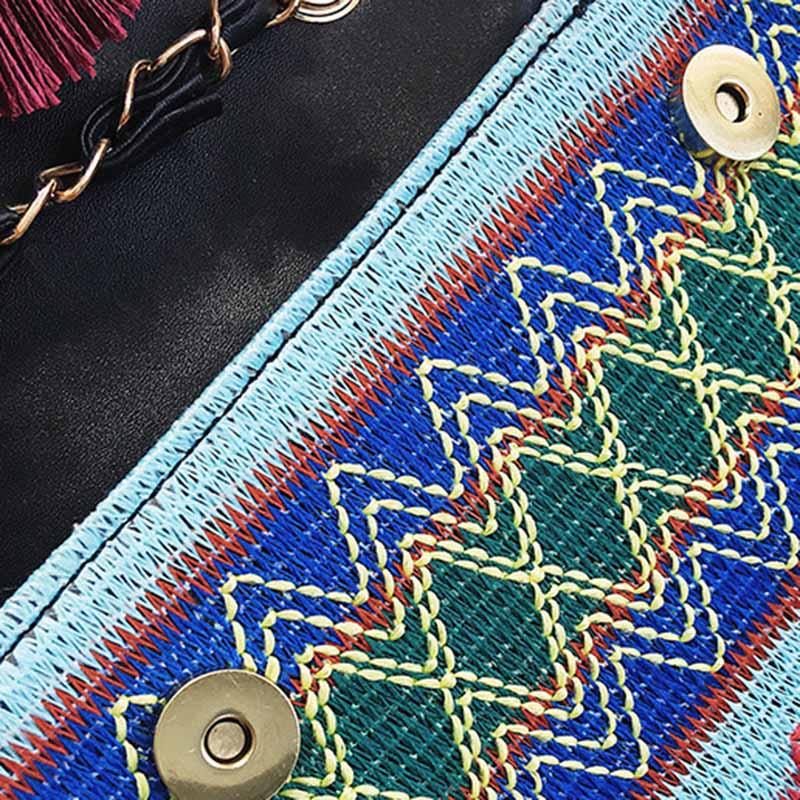 New Women Tassel Fashion Straw Bag INS Popular Female Summer Handbag Chains Lady Casual Shoulder Bag Beach Knit Crossbody SS3307 (3)