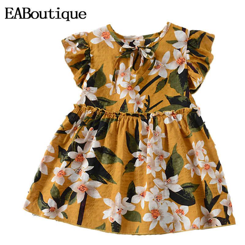 EABoutique/Хлопковое платье для маленьких девочек коллекция 2019 года, Весенняя милая детская одежда в цветочек для детей возрастом от 1 года до 4 лет, Q1207
