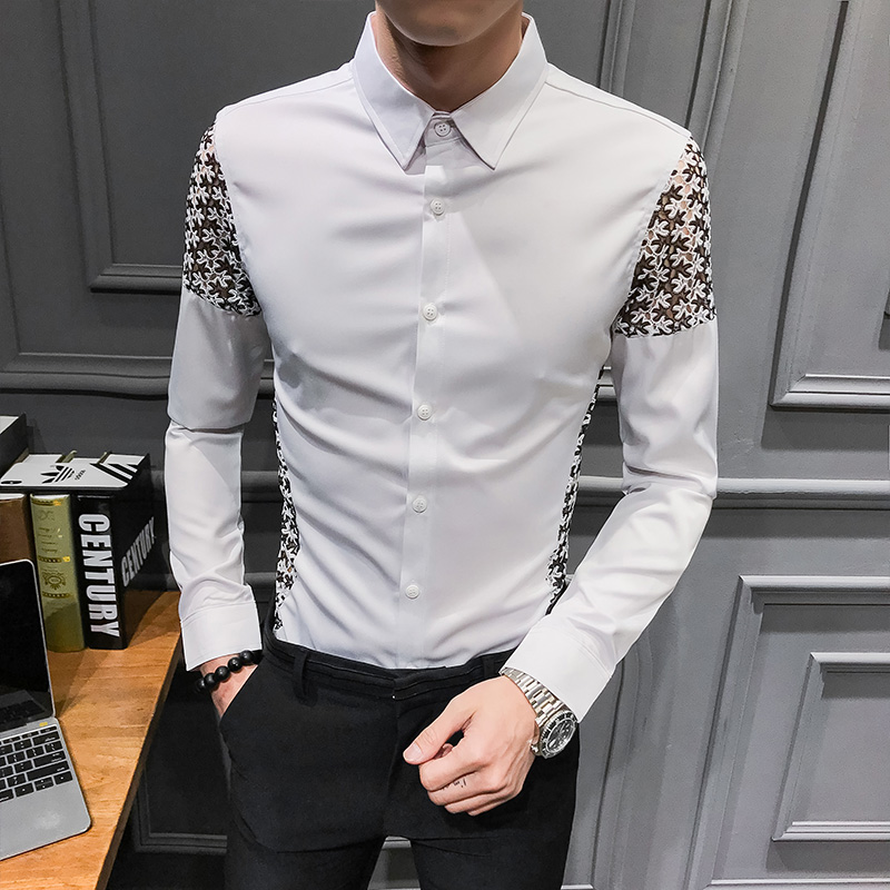 Spring 2019 New Men Shirt Long Sleeve Sexy Lace Patchwork Shirt Dress Streetwear mens shirts casual slim fit overhemden herenCasual Shirts   -
