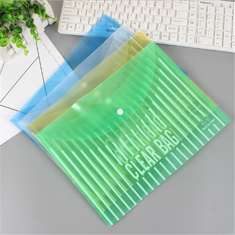 2Pcs PVC A4 File Folder Portable Big Capacity Button Document Bag Stationery Bag School Office Supplies