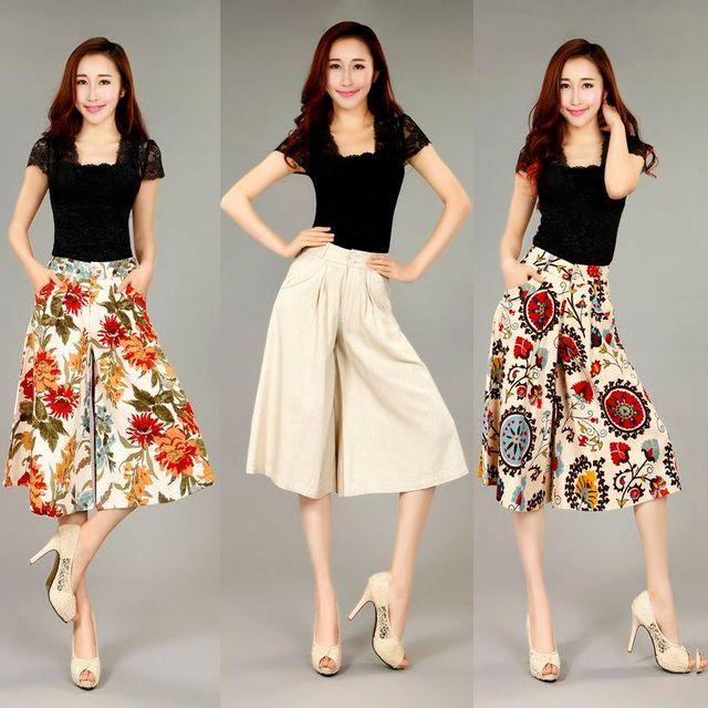 bbe18076cc8 Free Shippng Cotton Linen plus size women s capris culottes fluid trousers  wide leg pants trousers knee length Capris Pants