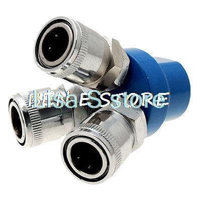 Tri-way Pass Quick Connect Coupling Air Hose Coupler Tool silver tone sky blue piping fitting 5 way air hose multi pass quick coupler sml 5