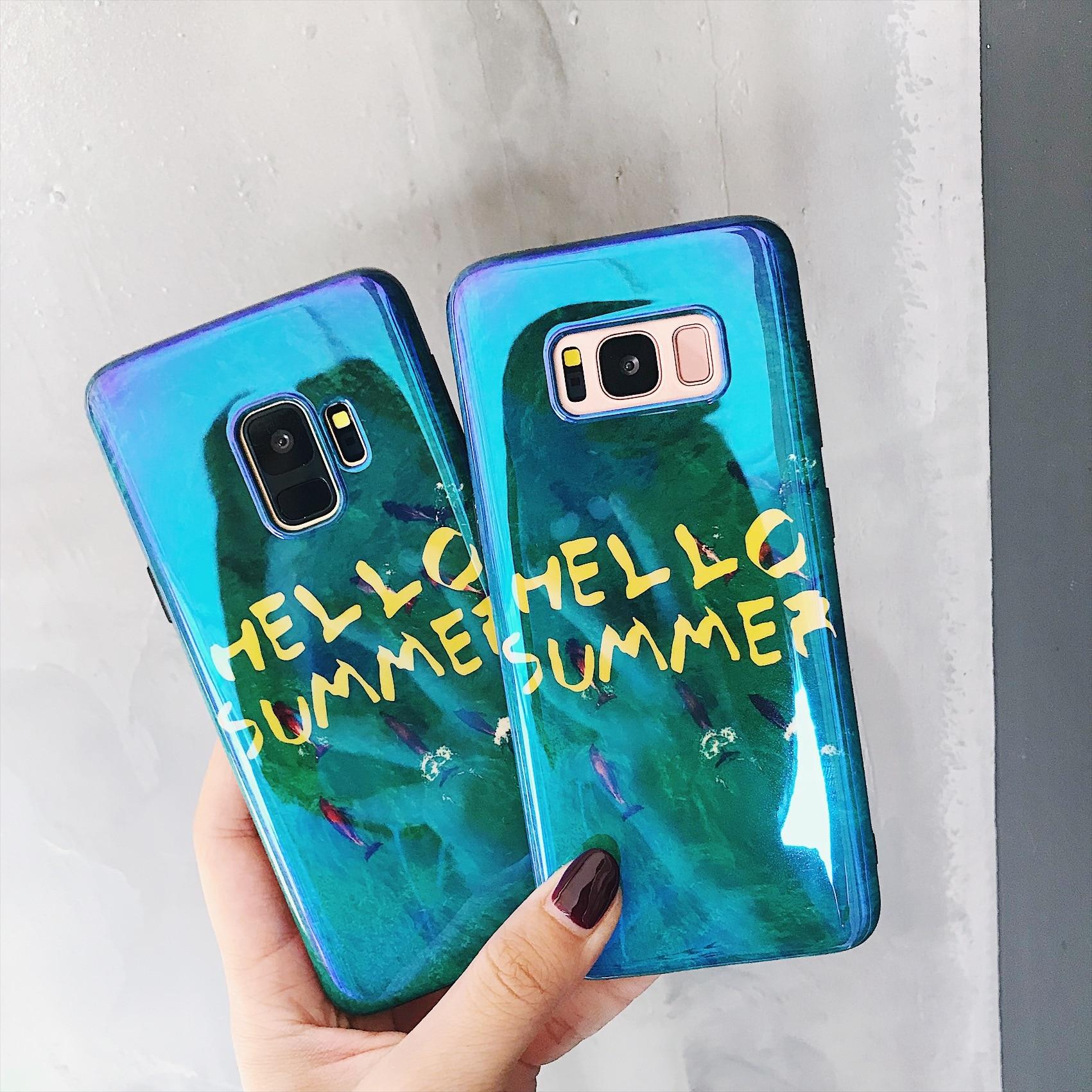 <font><b>Cases</b></font> For <font><b>Samsung</b></font> <font><b>Galaxy</b></font> <font><b>S8</b></font> Green Sea Blue-ray Soft Cover Hello Summer Letter <font><b>Phone</b></font> <font><b>Case</b></font> For <font><b>Galaxy</b></font> <font><b>S8</b></font> Plus IMD Shockproof Capa