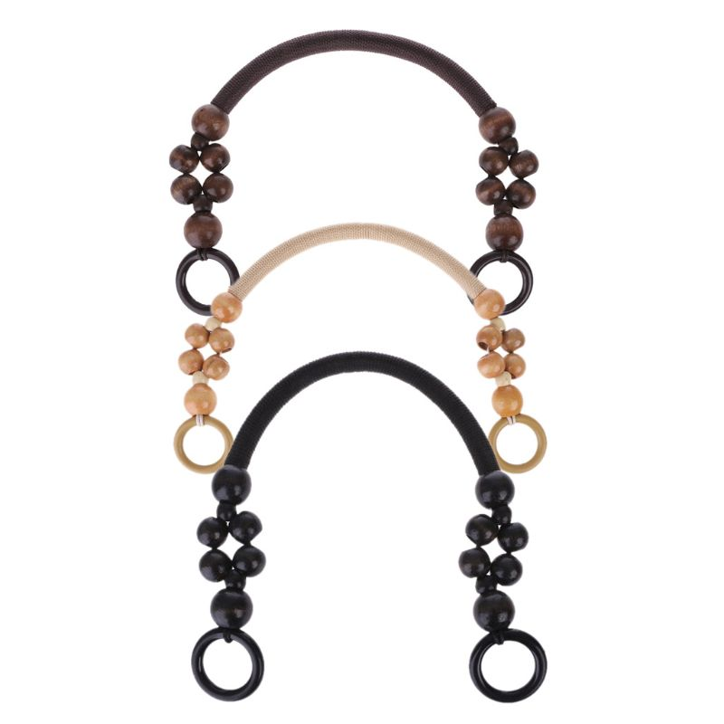 Bag Handle Wood Bead Rope Bag Strap Handle Shoulder Belt For Handbag DIY Replacement Bag Accessories