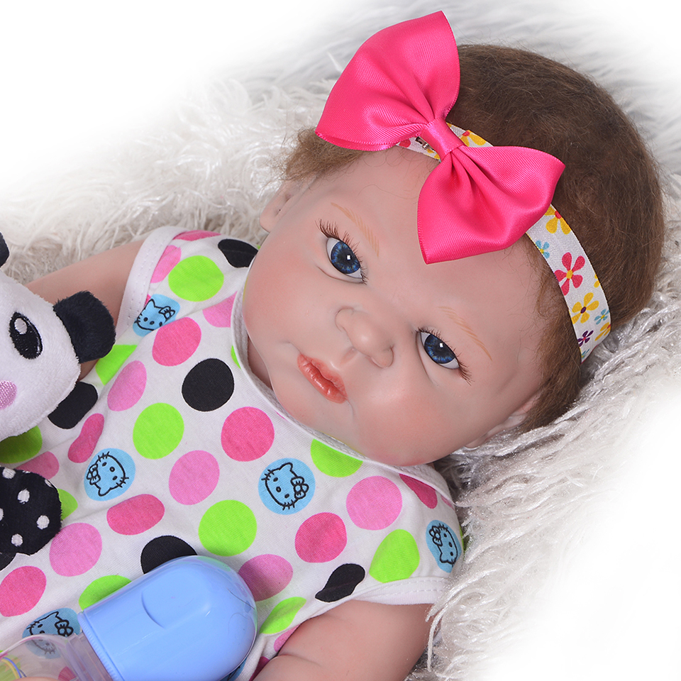 New Handmade Full Silicone Vinyl 23 Inch Reborn Baby Dolls Realistic Baby Toy Lifelike Princess Girl Kids Birthday Xmas Gift
