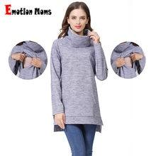 fc58f4238 Emoción mamás Elegante ropa de maternidad térmica lactancia materna abrigo  de cuello de tortuga de suéteres con capucha el color.