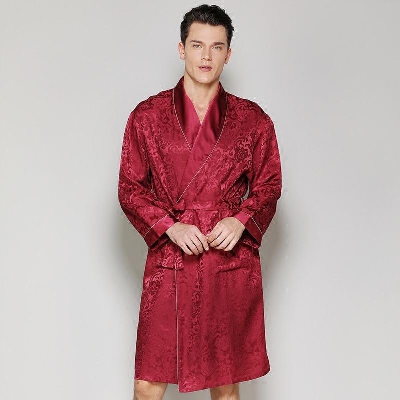 Pijamas Male 2019 New Men Luxury Bathrobe Red Pure Silk Robes Imitation 100%Silk Sleepwear Full Sleeve Nightwear Man Silk Robes