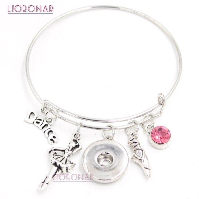 10pcs Whole Snap Jewelry I Love Dance Bracelet Bangle Ballerina Ballet Shoe On Bracelets For