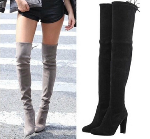 Aliexpress.com : Buy Black Faux Suede Slim Thigh High Heels Boots ...