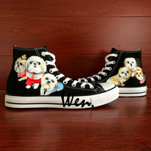 Wen Black Hand Painted Shoes Design Custom Pet Dogs High Top Canvas Sneakers for Men Women's Birthday Gifts