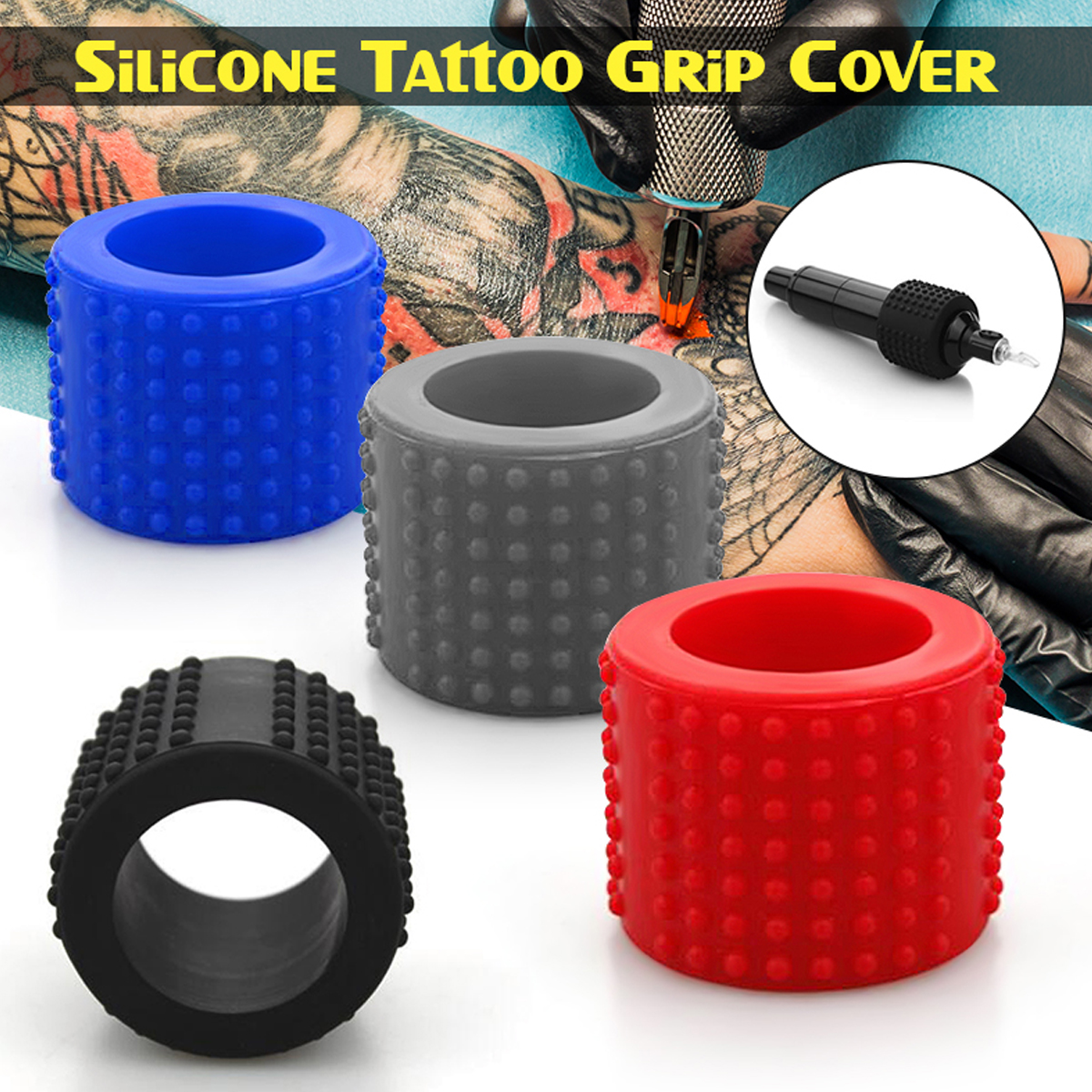Silicone Comfortable Hand Cover For Tattoo Grip 25mm New Tattoo Grip Cover Skid Resistance Heat-resistant Black Red Blue GreySilicone Comfortable Hand Cover For Tattoo Grip 25mm New Tattoo Grip Cover Skid Resistance Heat-resistant Black Red Blue Grey