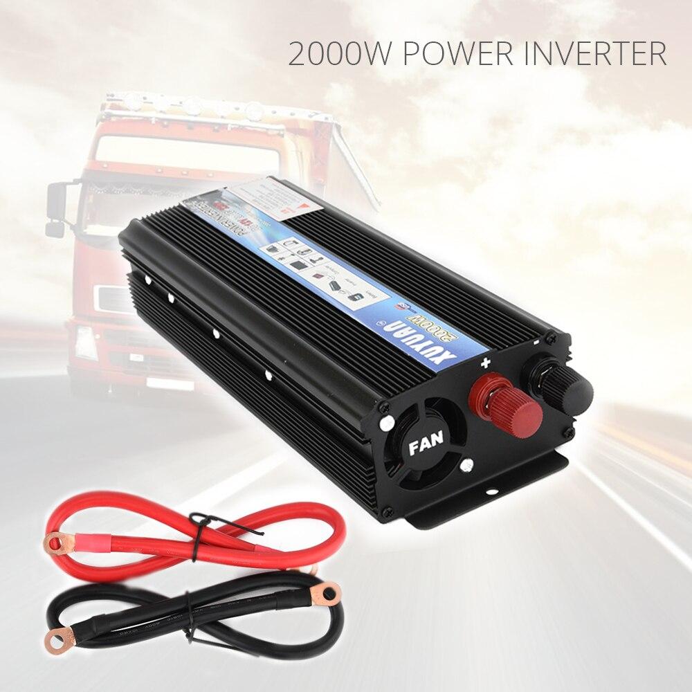 2000 Вт автомобильный преобразователь DC 12 В 220 В Мощность инвертор Зарядное устройство конвертер трансформатор автомобилей универсальный ав...