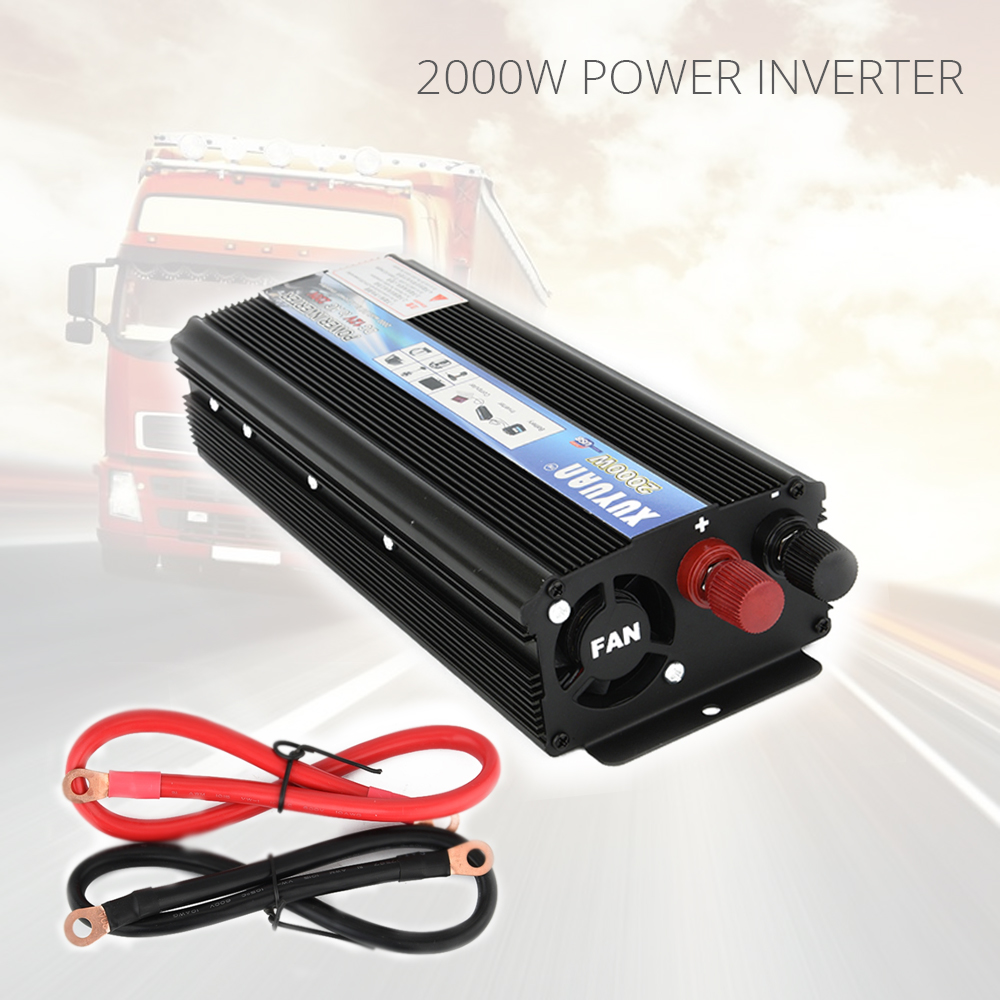 Professionelle 2000 Watt W Auto Wechselrichter DC 12 V AC 220 V Wechselrichter Ladegerät Stromrichtertransformator Fahrzeug Power versorgung Schalter