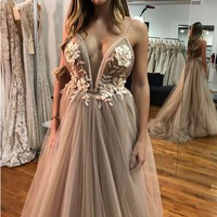 Sexy V Neck Robe De Soiree Longue 2018 Evening Dresses Long A Line Lace 3D Flower Prom Dress Special Occasion Ball Gown OL103253